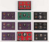 Lot of (10) United States Mint Proof Sets with 1970, 1972, 1978, 1980, 1983, 1985, 1987, 1988, 1992, & 1995