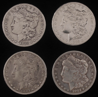 Lot of (4) Morgan Silver Dollars with 1882-S, 1883-O, 1887, & 1921