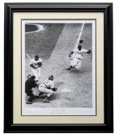 "Jackie Robinson LE ""Stealing Home"" 24x29 Custom Framed Hulton Archive Giclee Display at PristineAuction.com"