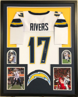 Philip Rivers Signed Los Angeles Chargers 35x43 Custom Framed Jersey (Beckett COA)