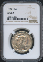 1943 50¢ Walking Liberty Silver Half Dollar (NGC MS 67)