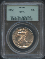 1942 50¢ Walking Liberty Silver Half Dollar - Proof (PCGS PR 63) at PristineAuction.com