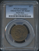 1857 1¢ Braided Hair Liberty Head Large Cent - Small Date (PCGS XF Detail)