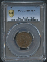 1855 1/2¢ Braided Hair Cent Coin (PCGS MS 63 BN)