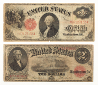 Lot of (2) 1917 Large Size Legal Tender Notes with $2 & $1