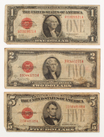 1928 U.S. Red Seal Bank Note Set of (3) with $1, $2 & $5