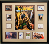 The Goonies 24x28 Custom Framed Display Cast-Signed by (8) with Josh Brolin, Sean Astin, Martha Plimpton, Jeff Cohen, Corey Feldman, Kerri Green, Jonathan Ke Huy Quan & John Matuszak (JSA COA) at PristineAuction.com