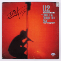 """The Edge Signed U2 """"Under A Blood Red Sky"""" Vinyl Record Album Cover (Beckett Hologram) at PristineAuction.com"""