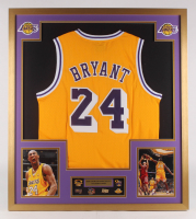 Kobe Bryant Los Angeles Lakers 34x38 Custom Framed Jersey with Postseason Pins