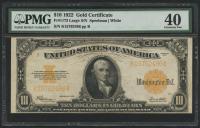 1922 $10 Ten Dollars U.S. Gold Certificate Large Size Bank Note - Large S/N (PMG 40)