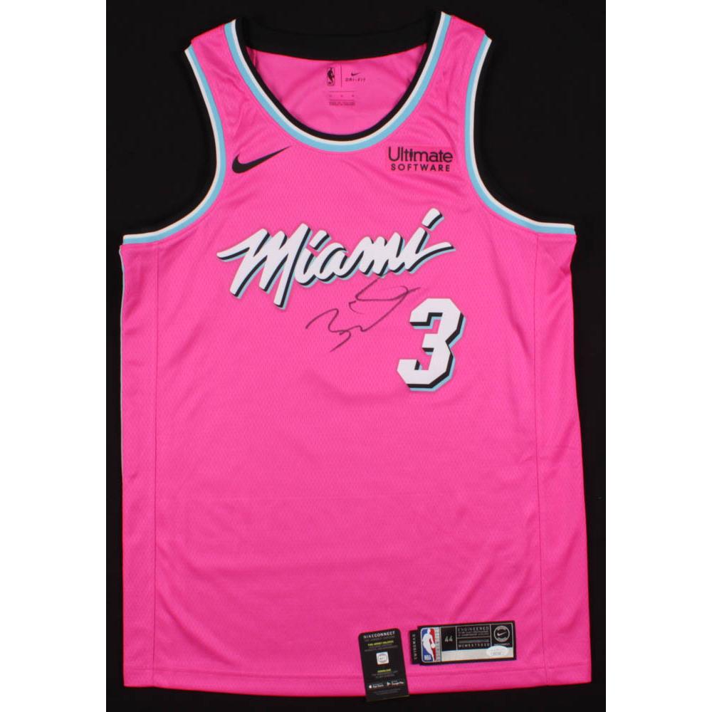 Dwyane Wade Signed Pink Miami Heat Jersey Jsa Coa Pristine Auction