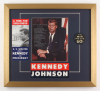 John F. Kennedy 18x20 Custom Framed Photo Display with Vintage Pin & Bumper Sticker