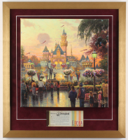 "Thomas Kinkade 50th Anniversary ""Disneyland"" 20x22 Custom Framed Canvas on Wood Display with Full Vintage Ticket Book"