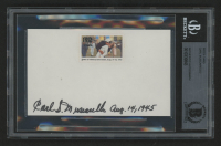 """Carl Muscarello Signed """"News of Victory Hits Home"""" 3x5 Index Card with World War II Stamp Inscribed """"Aug. 14, 1945"""" (BGS Encapsulated)"""