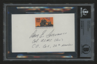 """Dave Severance Signed """"Marines Raise Flag on Iwo Jima"""" 3x5 Index Card with World War II Stamp Inscribed """"Col. U.S.M.C. (Ret)"""" & """"Co, C E, 28th Marines"""""""