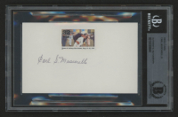"""Carl Muscarello Signed """"News of Victory Hits Home"""" 3x5 Index Card with World War II Stamp (BGS Encapsulated)"""