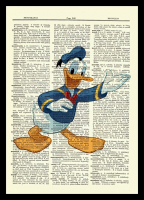 Donald Duck - Walt Disney - Unique Original Antique Dictionary Page Art Print (8x10)