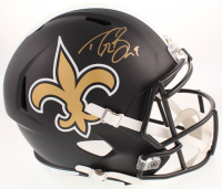 Drew Brees Signed New Orleans Saints Full-Size Custom Matte Black Speed Helmet (Beckett COA)
