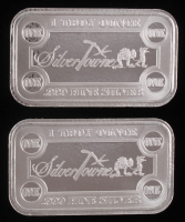 Lot of (2) 1 Troy Oz .999 Fine Silver Silvertowne Bullion Bars