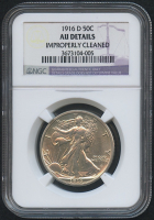 1916-D 50¢ Walking Liberty Silver Half Dollar (NGC AU Details)