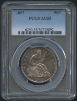 1857 50¢ Seated Liberty Half Dollar (PCGS AU 55) at PristineAuction.com