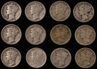 Lot of (12) 1917-1944 Mercury Silver Dimes