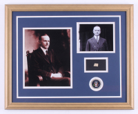 Calvin Coolidge 18x22 Custom Framed Display with (1) Hand-Written Word From Postcard (Beckett LOA Copy)