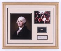 George Washington 18x22 Custom Framed Cut Display with (1) Hand-Written Word from Letter (JSA LOA Copy)