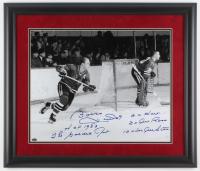 Bobby Hull Signed Chicago Blackhawks 23x27 Custom Framed Photo Display with (5) Inscriptions (Schwartz COA)
