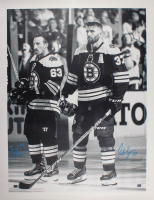 Patrice Bergeron & Brad Marchand Signed Boston Bruins 34x44 Canvas (Bergeron COA) at PristineAuction.com