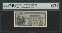 25¢ Series 481 Military Payment Certificate Note - Third Printing (PMG 67) (EPQ)