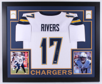 Philip Rivers Signed Los Angeles Chargers 35x43 Custom Framed Jersey (Beckett Hologram)
