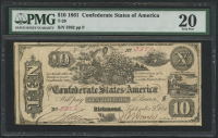 1861 $10 Ten Dollars Confederate States of America Richmond CSA Bank Note (T-29) (PMG 20)