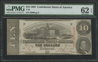1863 $10 Ten Dollars Confederate States of America Richmond CSA Bank Note (T-59) (PMG 62) (EPQ)