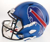 Josh Allen Signed Buffalo Bills Full-Size Custom Matte Blue Speed Helmet (JSA COA) (Imperfect) at PristineAuction.com