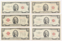 Lot of (6) 1928 & 1953 $2 Two-Dollar Red Seal United States Legal Tender Notes