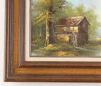 """Freeman Signed """"Water Mill"""" 20x24 Custom Framed Original Painting on Canvas Display at PristineAuction.com"""