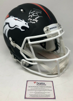 "Peyton Manning Signed Denver Broncos Limited Edition Custom Matte Black Full-Size Authentic On-Field Speed Helmet Inscribed ""5x NFL MVP"" (Fanatics Hologram)"