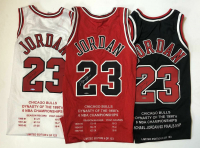 Michael Jordan Signed Set of (3) Chicago Bulls Limited Edition Career Highlight Stat Jereys (UDA COA)