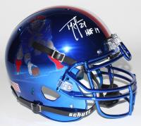 "Ty Law Signed New England Patriots Full-Size Blue Chrome Helmet Inscribed ""HOF 19"" (Beckett COA)"