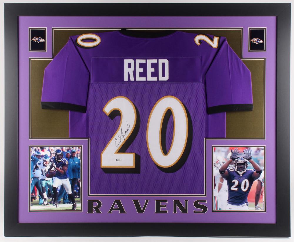 Ed Reed Signed 35x43 Custom Framed Jersey (Beckett COA)   Pristine ...