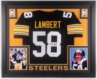 "Jack Lambert Signed Pittsburgh Steelers 35x43 Custom Framed Jersey Inscribed ""HOF 90"" (Beckett COA)"