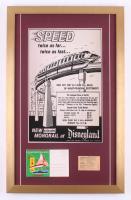 """Disneyland """"Monorail"""" 17x27 Custom Framed Vintage Poster Display with Vintage Ticket & Postcard"""