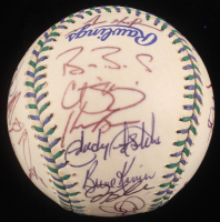1998 All-Star Game Baseball Team-Signed by (32) with Barry Bonds, Sammy Sosa, Mark McGwire, Mike Piazza, Chipper Jones, Tony Gwynn, Greg Maddux (PSA LOA)