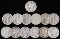 Lot of (13) 1917-1939 Mercury Silver Dimes
