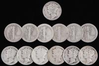 Lot of (13) 1916-1945 Mercury Silver Dimes