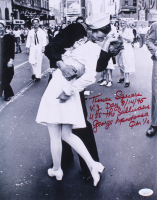 "George Mendonsa Signed ""The Kiss"" 11x14 Photo with Extensive Inscription (Beckett COA)"