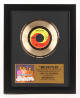 """The Beatles Custom Framed 12.75x15.75 Gold Plated """"Yesterday"""" Record Album Award Display"""
