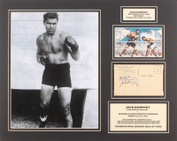 """Jack Dempsey Signed 16x20 Custom Matted Postcard Display Inscribed """"Thank You"""" & """"Lots of Luck"""" (JSA LOA)"""