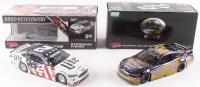 Lot of (2) Brad Keselowski Signed LE 1:24 Scale Die-Cast Cars with (1) #2 Miller Genuine Draft Darlington Win 2018 Fusion & (1) #2 Miller Lite Patriotic 2017 Fusion